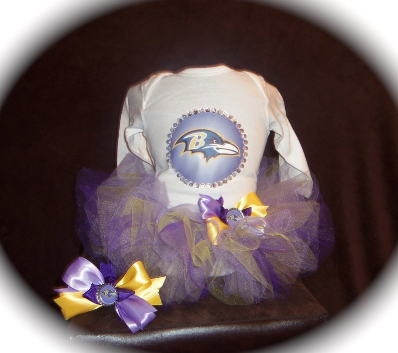 Custom made Boutique Pageant 3pc Baltimore Ravens theme infant tutu set with matching bottlecap hairbow size 18m