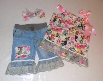 NEW Valentines Day Love 3 pc pillowcase short set girls size 6 matching Hairbow