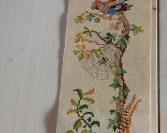 Swedish hand embroidered wall hanging 1960  s  / Swedish birds / in the wood