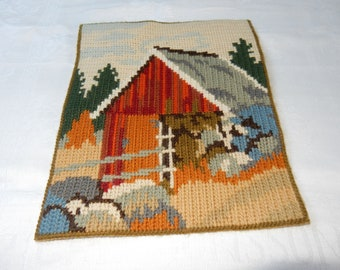 Swedish hand embroidered wall hanging 1960  s  / a house