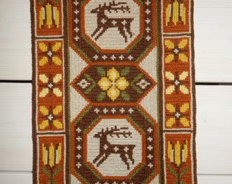 Swedish hand embroidered wall hanging 1970 s  / an old pattern