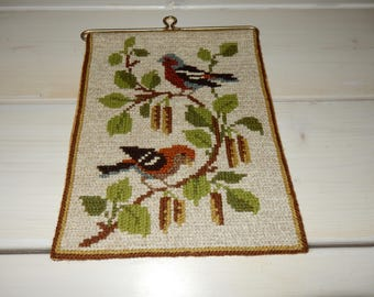 Swedish hand embroidered wall hanging 1960  s  / birds