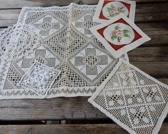 Swedish hand embroidered doilies  etc/ set of 6 / vintage / retro