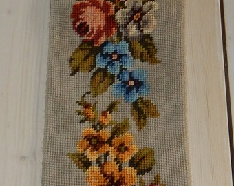 Swedish hand embroidered wall hanging 1960  s  / an old pattern with flowers