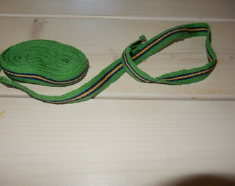 "Swedish green lovely hand woven ribbon / band  / belt 1 x 145"" / unused"