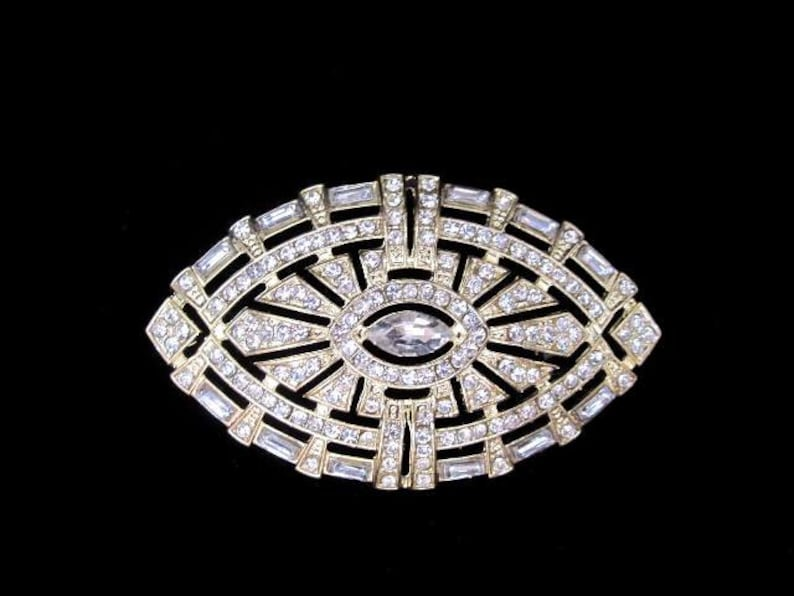 Art deco style vintage inspired rhinestone brooch applique etsy