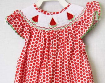 Fourth of July Baby Girl Watermelon Dress | Baby Girl Clothes |Baby Smocked Dress |Bishop Dress | Smocked Bishop Dress  412140 -A140