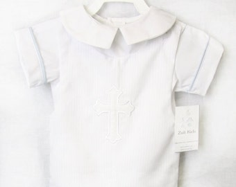Baby Boy Baptism Outfit - Baby Boy Clothes - Baby Boy Christening Romper - Baby Christening Outfit - Baby Boy Baptism Suit 292648