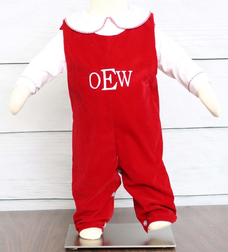 640abf3f5 Velvet Romper Christmas Jon Jon Baby Boy Christmas Outfit | Etsy