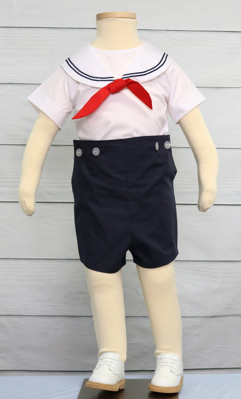 4a685094f Baby Sailor Outfit with tie Boys Sailor Outfit in Navy Boys   Etsy
