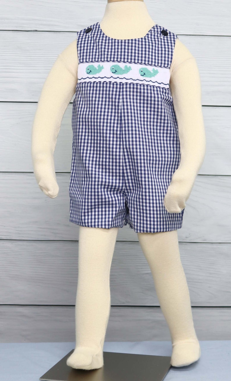 89fe827e1fa3 Smocked Clothes Baby Easter Outfit with Navy Smocking Boy