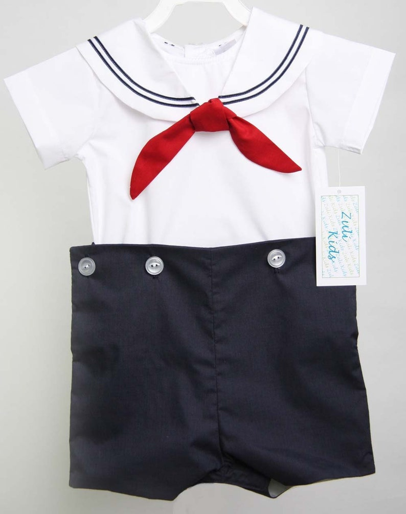 8c4770b3e18e Baby Sailor Outfit with tie Boys Sailor Outfit in Navy Boys