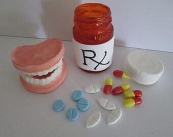 False Teeth Birthday Gag Over The Hill Dentures Dentist Cake Topper Pill Bottle Syringe Sugar Gum Paste Edible