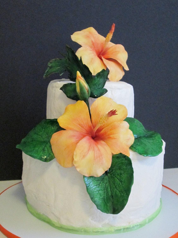 Sugar flowers hibiscus cake topper edible gum paste tropical etsy zoom izmirmasajfo