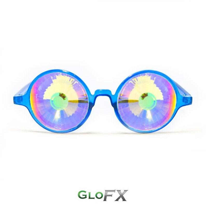 24b716cef3dc GloFX Transparent Blue Kaleidoscope Glasses Rainbow Wormhole
