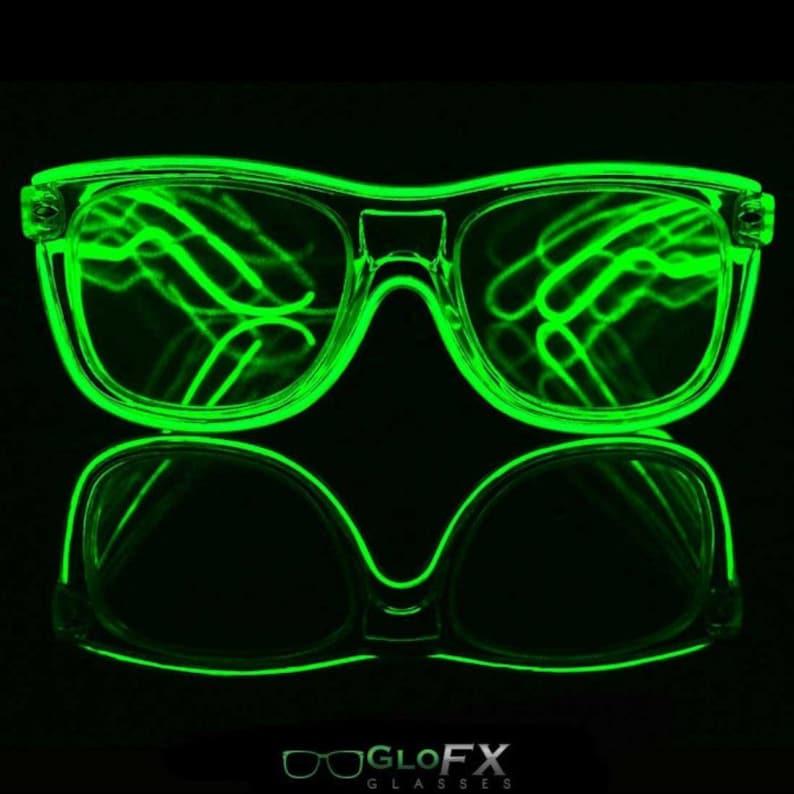 0afd5eb154e7 GloFX Green EL Wire Black Ultimate Rave Diffraction Glasses