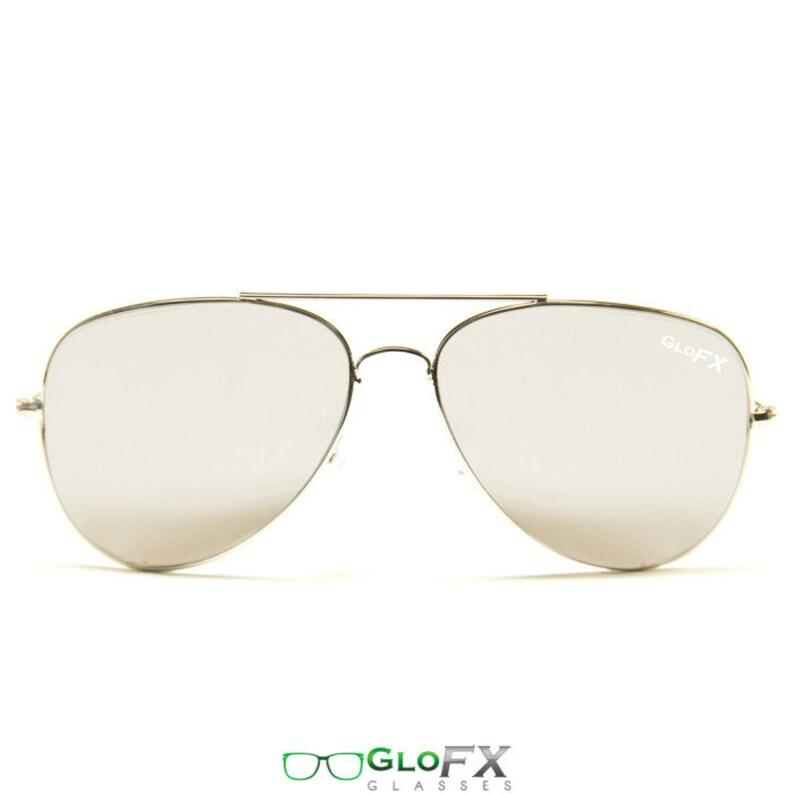 adaf73d60ec1 GloFX Metal Pilot Aviator Style Diffraction Glass Silver