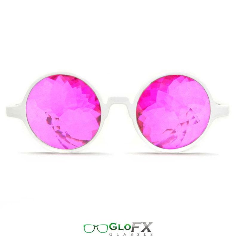 3af102a0cc74 GloFX White Kaleidoscope Effect Glasses Magenta Lenses Unique