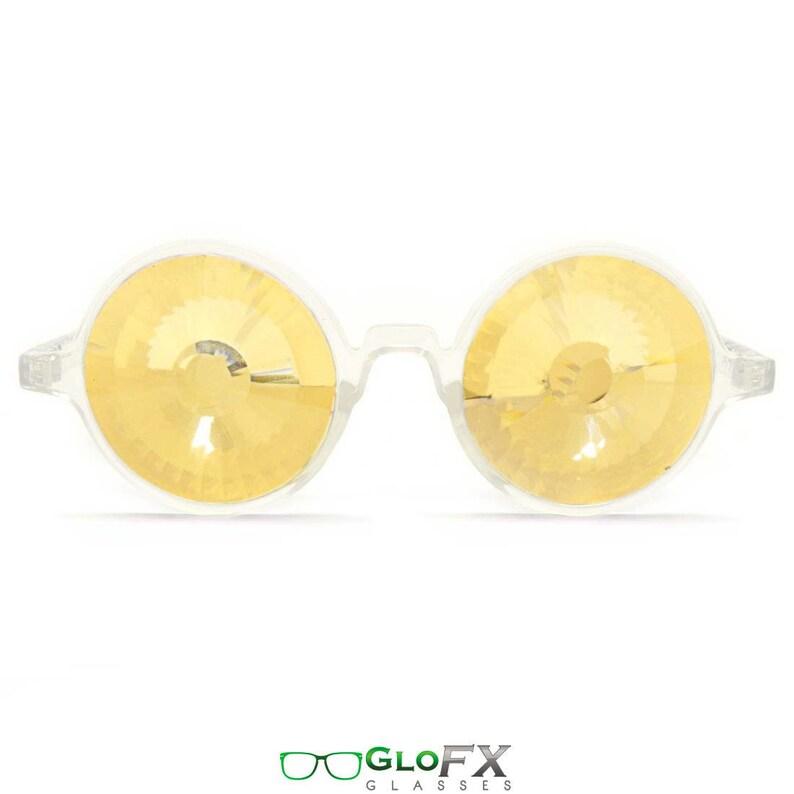 f5accc7297c8 GloFX Clear Kaleidoscope Glasses Gold Wormhole Lenses Unique
