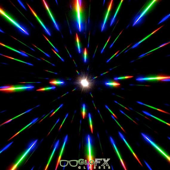 Vintage Round Prism Kaleidoscope Rave Effect GloFX Flip Diffraction Glasses
