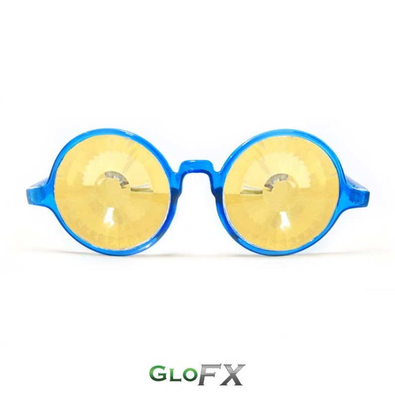 Rave Élégants Vos Transparent Kaleidoscope Kaléidoscope Or Blue – Véritable Verres Des Cristaux Lunettes Vortex Glofx Pour wnN80yvmO