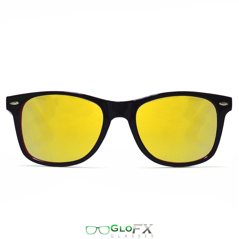 8aa776c93c2f GloFX Diffraction Glasses Red Black Gold Mirror Two-Tone