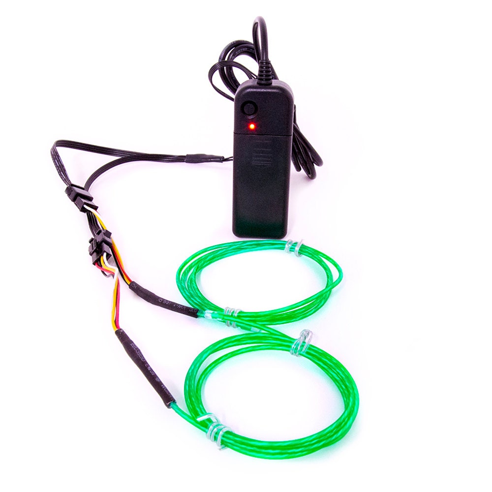 Used, GloFX 6 ft Moving Tracer EL Wire - Green - Motion Spiral Spinning Light Up Wires - 2 Mode Sound Activated Portable Battery Inverter New for sale
