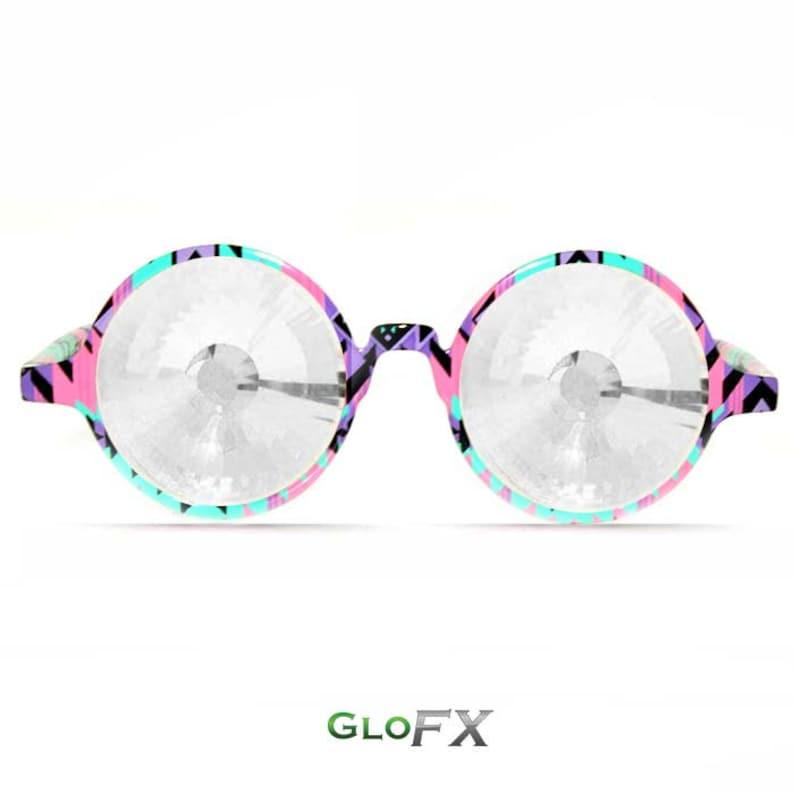 5b284ab2fae5 GloFX Aztec Kaleidoscope Glasses Clear Wormhole Intense