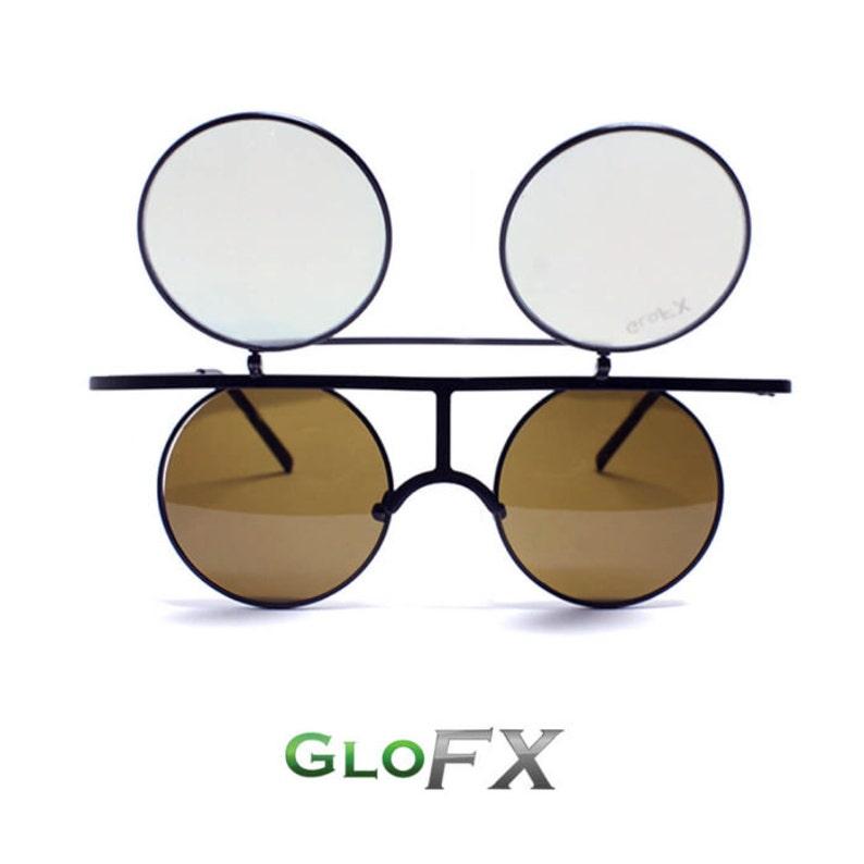 5c3f53b1145a GloFX Flip Diffraction Glasses Matte Black Round Vintage