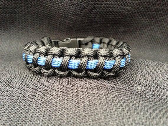 Thin Blue Line Survival 550 Paracord Bracelet Custom Size Etsy
