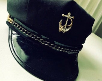 5c7990a03bb New Military Navy Sailor Captain Hat with Super Cute Tuck Customization -  Black