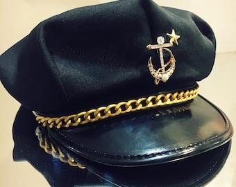 0d2ba2e84d0 New Military Navy Sailor Captain Hat with Super Cute Tuck Customization -  Black   Gold