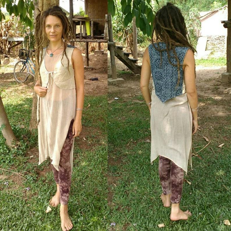 small Womens hemp vest medium festival clothing extra small tribal primitive vest