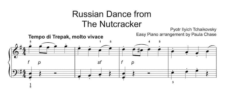 Nutcracker Russian Dance Easy Piano Trepak image 0