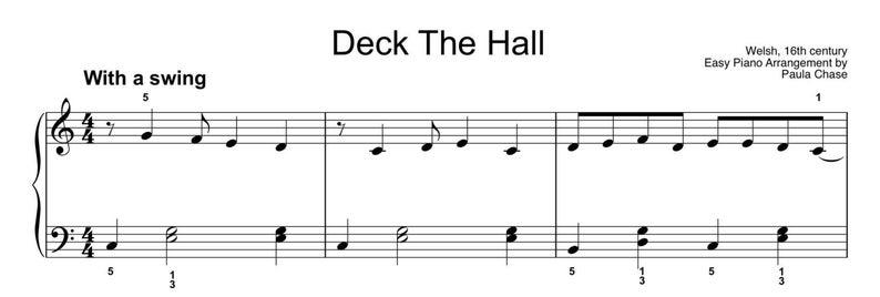Deck The Hall FUN swinging  Easy Piano arrangement Level D image 0