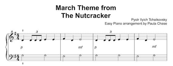 Nutcracker March Theme Easy Piano Level C