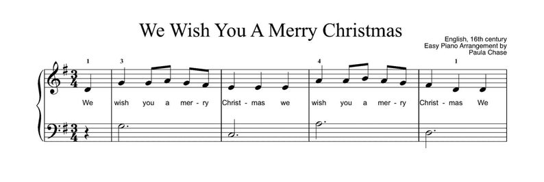 We Wish You a Merry Christmas  Easy Piano arrangement Level B image 0