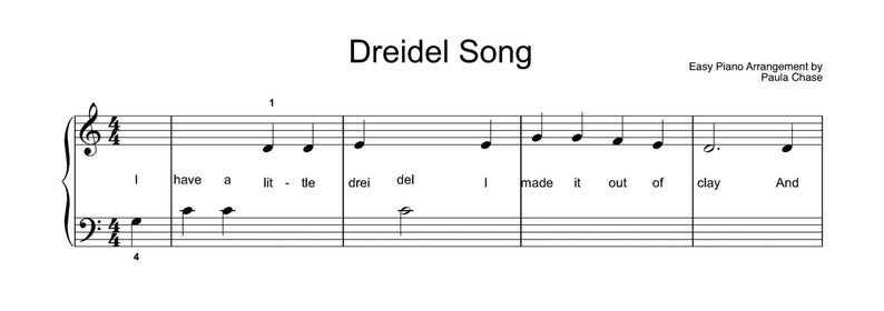 Dreidel Song  Easy Piano arrangement Level A  very very easy image 0