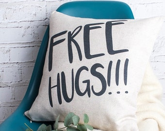 Free Hugs Funny Quote Typo Cushion Pillow Linen Cotton Cover with Words Gift for Her New House