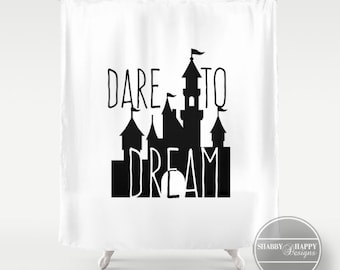 Shower Curtain Art Design Dare To Dream Quote Custom Bathroom Decor 12 Buttonhole Top For Easy Hanging