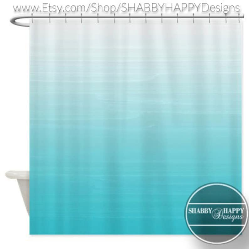Shower Curtain Art Design White To Robins Egg Blue Ombre