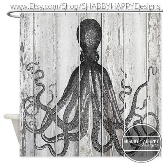 Shower Curtain Art Design Octopus Painted On A Beach Slatted
