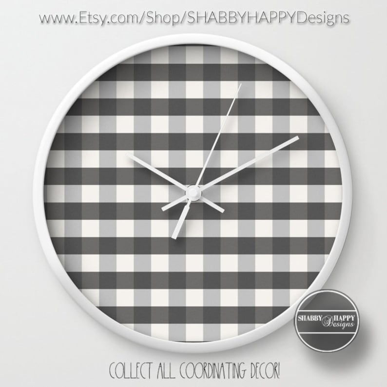 FARMHOUSE Cottage Gray Gingham Buffalo Check pattern Art / 10 inch White  Wood Frame Wall Clock / Modern Minimalist / Choice of hand color