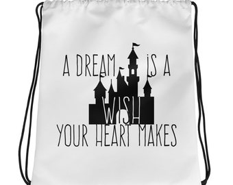A Dream is a wish your Heart Makes Quote  Modern Minimalist Art Drawstring bag