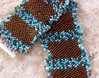 Chocolate and Teal Mix Cuff bracelet