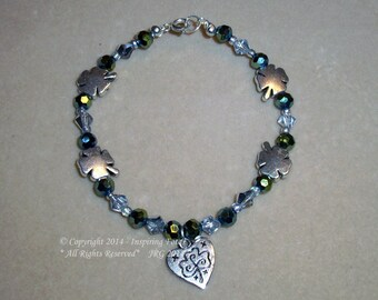 Shamrock Wire Beaded Bracelet