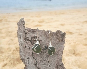 Olive green seaglass Earrings/ beach jewelry/boho/minimlist/gift/wire wrapped/silver