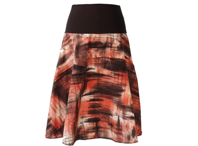 Skirt CordSkirt Samtcord A-line calf brown Terra Midi MidiSkirt Woman