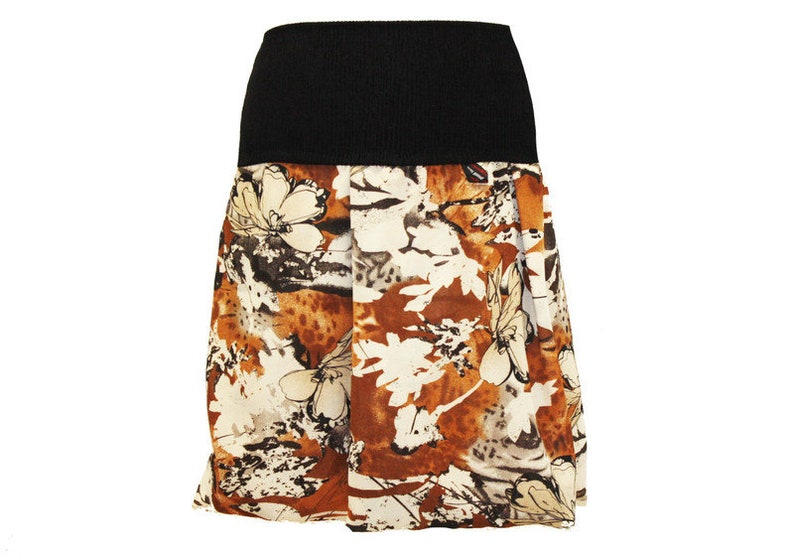 Bubble Skirt Georgette Brown beige floral skirt airy Woman Balloon