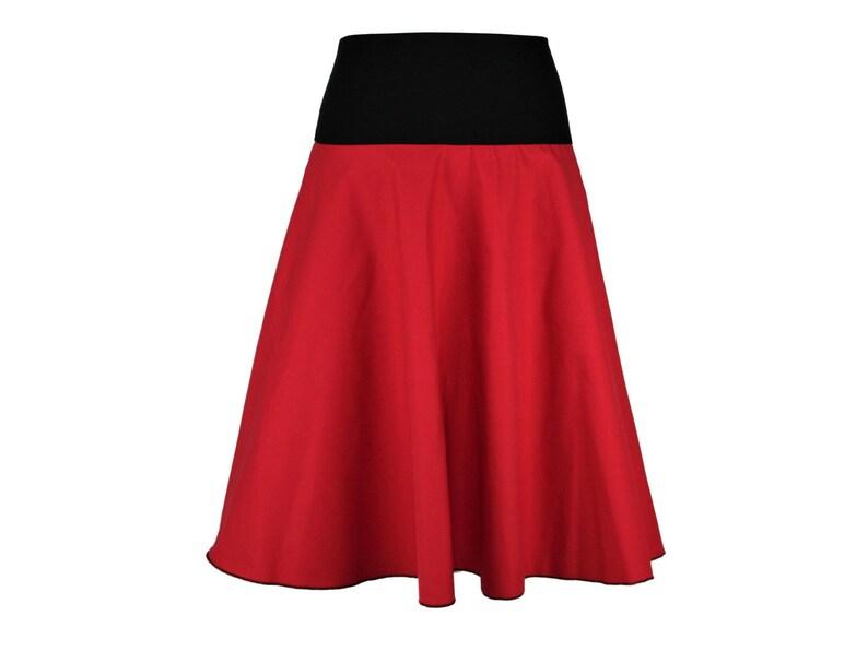 new product 0c2cb b89bb Denim Skirt Rock midi Midirock calf red black A-line